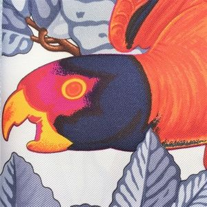 """HERMES """"Les Perroquets"""" SILK TWILL SCARF"""